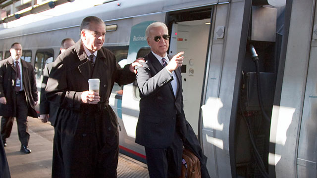 PHOTO: Vice President Joe Biden, right, and Transportation Secretary Ray LaHood, left, walk to a train at Union Station in Washington, Feb. 8, 2011.