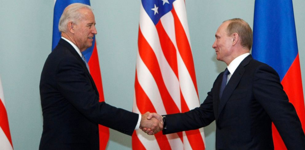 PHOTO: Vice President of the United States Joe Biden shakes hands with then Russian Prime Minister Vladimir Putin in Moscow, Russia, on March 10, 2011.