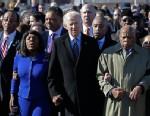 PHOTO: Vice President Joe Biden, center, leads a group across the Edmund Pettus Bridge in Selma, Ala., Sunday, March 3, 2013.