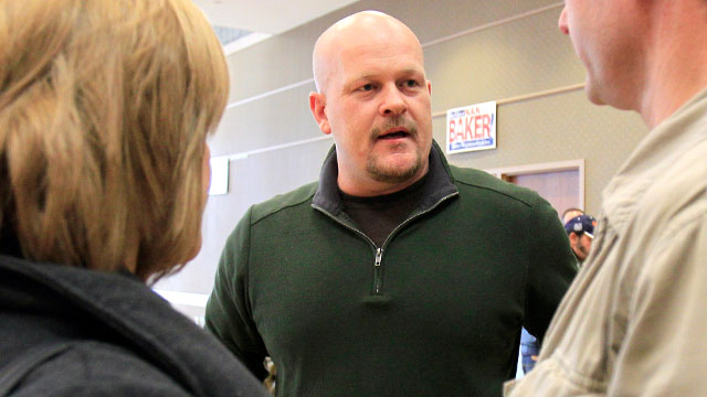 PHOTO: Republican congressional candidate Samuel Wurzelbacher, better known as Joe the Plumber, talks with supporters after giving a speech, Feb. 24, 2012, in Rocky River, Ohio.