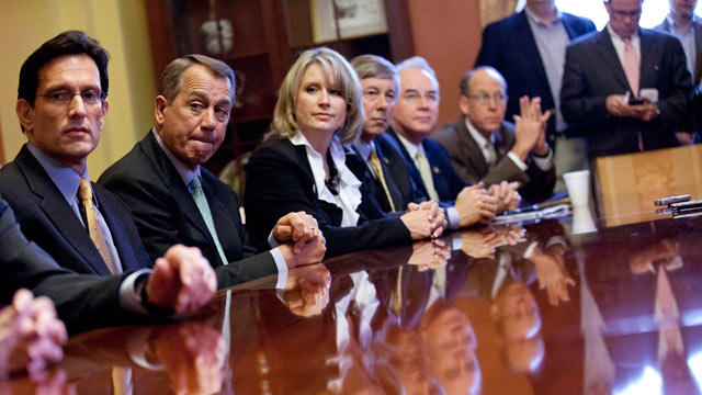 PHOTO: Speaker of the House Rep. John Boehner, R-Ohio, second from left, holds a meeting with the conference committee on the payroll tax cut, Dec. 21, 2011 in Washington.