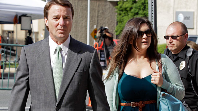 PHOTO: John Edwards, left, arrives with his daughter Cate Edwards, right, at a federal courthouse as the jury deliberates for a third day in his trial on charges of campaign corruption in Greensboro, N.C. on May 22, 2012.