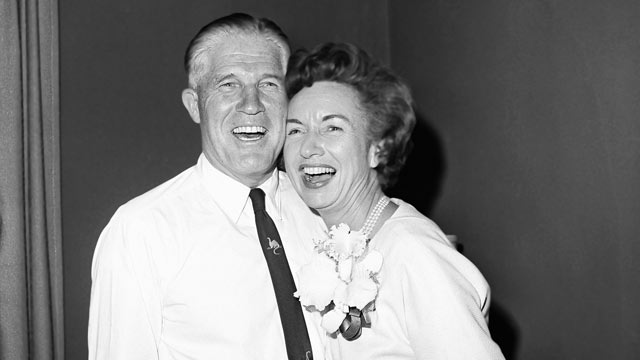 PHOTO: George Romney and his wife, Lenore, smile after George Romney was elected Governor of Michigan over incumbent John B Swainson, Nov. 7, 1962.