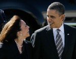 PHOTO: President Barack Obama walks with California Attorney General Kamala Harris, on Feb. 16, 2012.