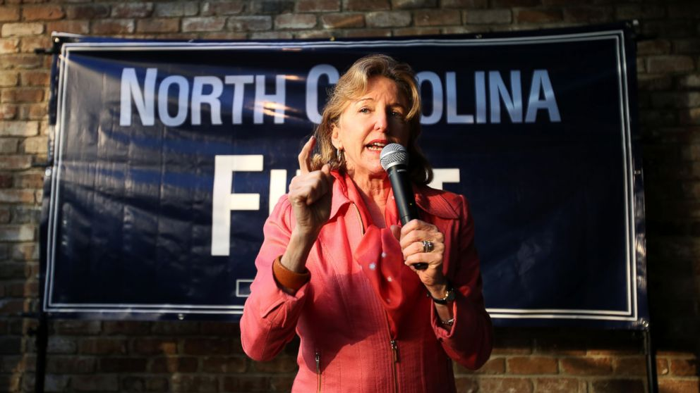 PHOTO: Sen. Kay Hagan speaks to a crowd Oct. 29, 2014, during a campaign event at the Four Seasons Restaurant and Convention Center in Rocky Mount, N.C.