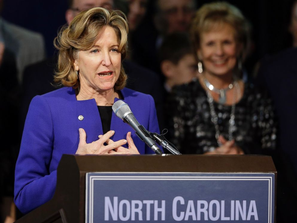 PHOTO: Sen. Kay Hagan, D-N.C., gives her concession speech during an election night rally in Greensboro, N.C., Nov. 4, 2014. Hagan conceded to Republican Thom Tillis in a tight race.