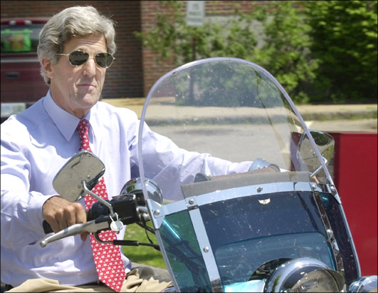John Kerry on Motorcycle