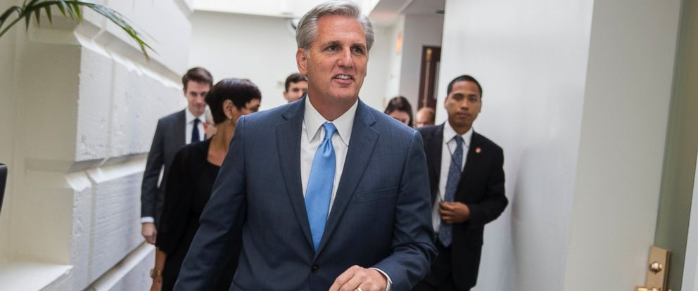 PHOTO: House Majority Leader Kevin McCarthy of Calif., leaves a meeting on Capitol Hill in Washington, Oct. 8, 2015.