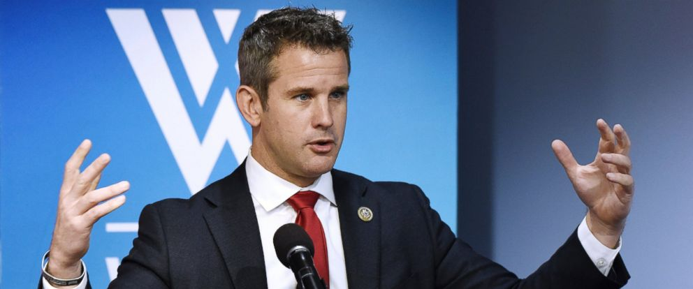 PHOTO: Republican U.S. Rep. Adam Kinzinger talks about the way forward in the nearly 16-year-old conflict, now the countrys longest war during a conversation with with former U.S. Rep. Jane Harman at the Wilson Center, on May 25, 2017 in Washington, DC.