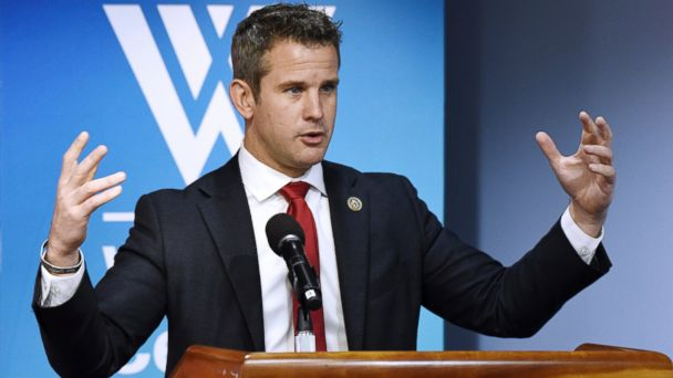 PHOTO: Republican U.S. Rep. Adam Kinzinger talks about the way forward in the nearly 16-year-old conflict, now the country's longest war during a conversation with with former U.S. Rep. Jane Harman at the Wilson Center, on May 25, 2017 in Washington, DC.