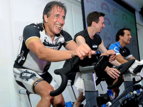 'PHOTO: Bahram Akradi, Founder, Chairman, President and CEO, Life Time Fitness, teaches EDGE Cycle1_b@b_1the opening of Life Time Athletic1_b@b_1Sky, Wednesday, June 1, 2016, in New York.' from the web at 'http://a.abcnews.com/images/Politics/ap_lifetime_dc_010618_4x3_608.jpg'