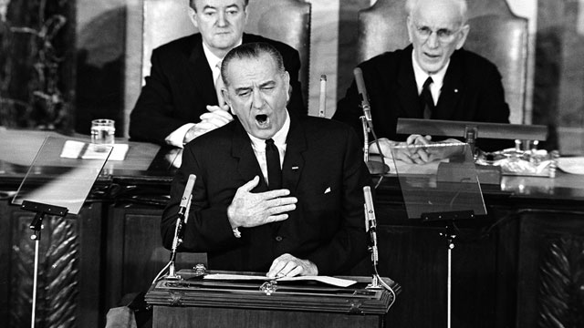 PHOTO: U.S. President Lyndon B. Johnson addresses a joint session of Congress in Washington, D.C., March 15, 1965, to outline his proposals for voting rights for all citizens.