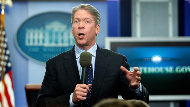 PHOTO: Major Garrett, chief White House correspondent for the FOX News Channel, is pictured in the James Brady Press Briefing Room at the White House in Washington, Feb. 26, 2010.