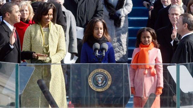 PHOTO: Malia, third from left, and Sasha, stand with their parents as Barack Obama takes the oath of office to become the 44th president of the United States at the U.S. Capitol in Washington, Jan. 20, 2009.