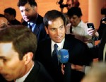 PHOTO: Sen. Marco Rubio, R-Fla., center, is followed by reporters as he leaves after speaking at the Faith and Freedom Coalition Road to Majority Conference in Washington, June 13, 2013.
