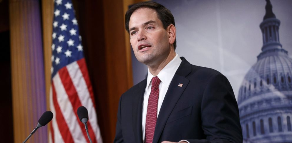 PHOTO: Sen. Marco Rubio, R-Fla., the son of Cuban immigrants, expresses his disappointment in President Barack Obamas initiative to normalize relations between the US and Cuba on Dec. 17, 2014, during a news conference on Capitol Hill in Washington.