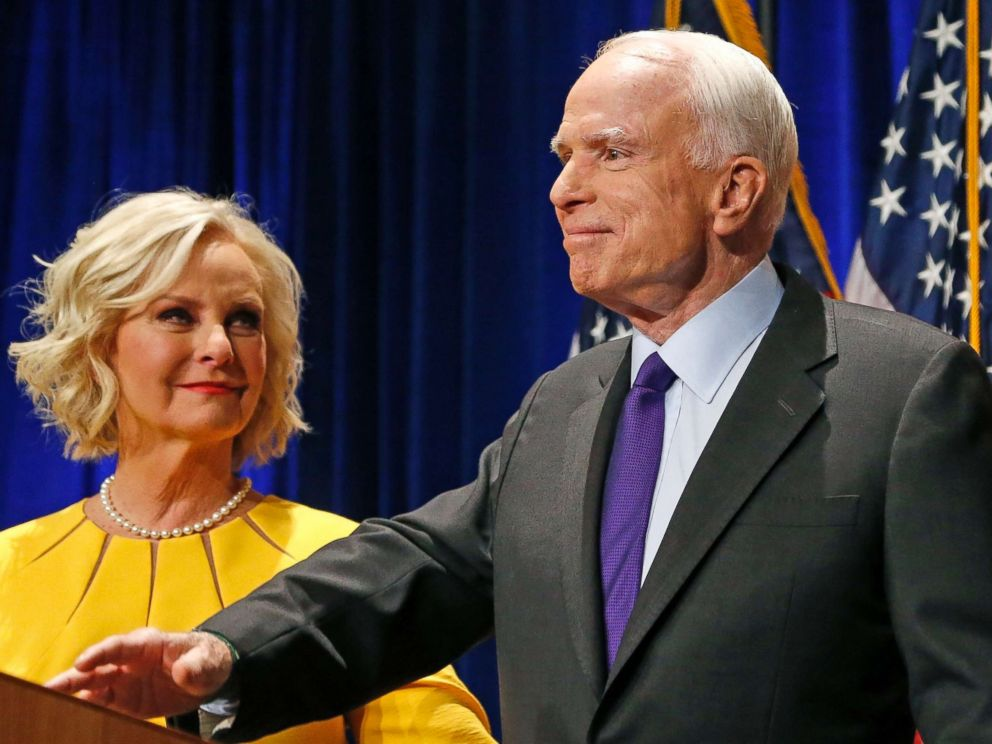 PHOTO: FILE - In this Nov. 8, 2016 file photo, Sen. John McCain, R-Ariz., accompanied by his wife Cindy McCain, pauses after speaking in Phoenix.