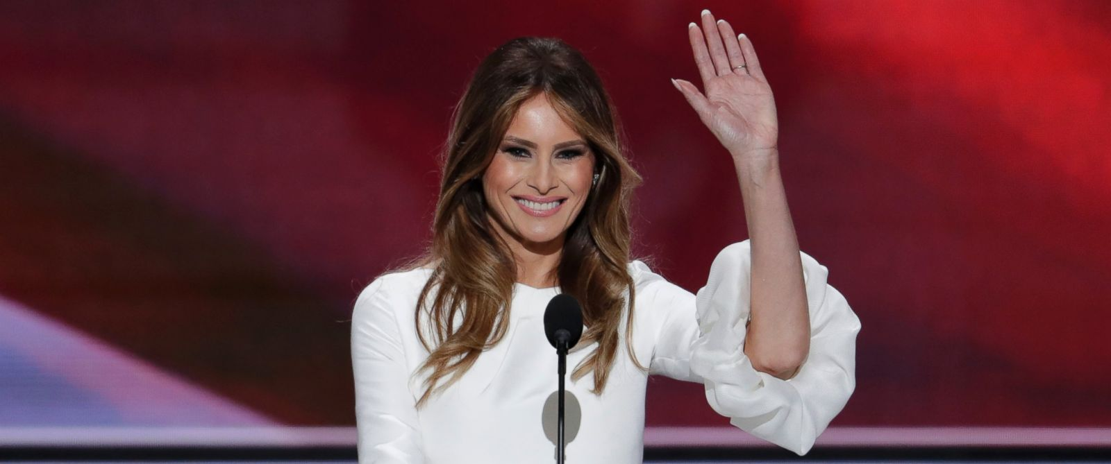 PHOTO: Melania Trump, wife of Republican Presidential Candidate Donald Trump waves as she speaks during the opening day of the Republican National Convention in Cleveland, Monday, July 18, 2016.