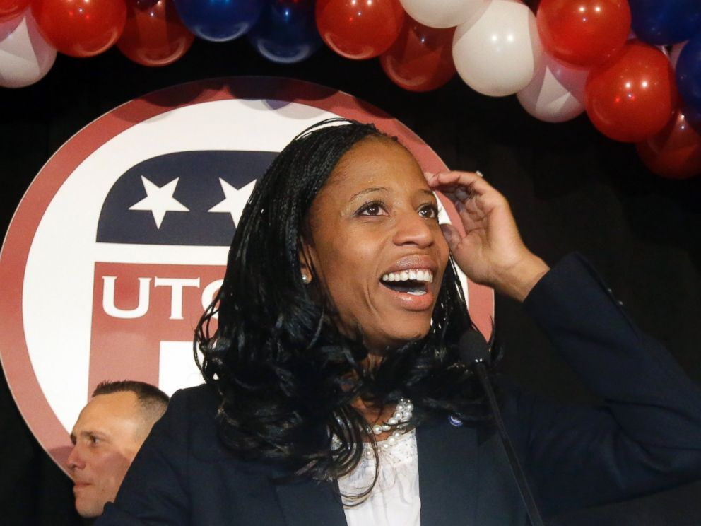 PHOTO: Republican Mia Love celebrates with her supporters after winning the race for Utahs 4th Congressional District during a GOP election night watch party, Nov. 4, 2014, in Salt Lake City.