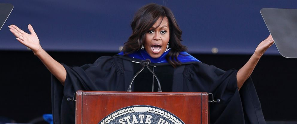 PHOTO: First lady Michelle Obama delivers the commencement address for Jackson State Universitys Class of 2016 at the Mississippi Veterans Memorial Stadium in Jackson, Miss., Saturday, April 23, 2016.