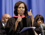 PHOTO: First lady Michelle Obama gives a thumbs up in response to students cheers after she handed out diplomas to graduates of Martin Luther King, Jr. Academic Magnet High School on Saturday, May 18, 2013, in Nashville, Tenn.