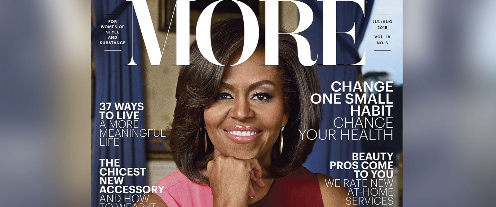 """PHOTO: Michelle Obama is the guest editor of the July/August 2015 issue of """"More"""" magazine."""