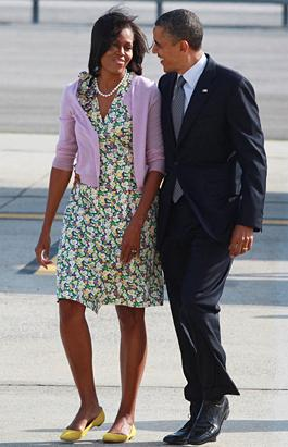 FLOTUS Refreshing in Florals En Route to Beam Signing