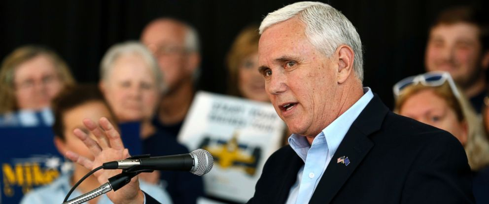 PHOTO: In this May 11, 2016, file photo, Indiana Gov. Mike Pence launches his campaign for re-election during an event in Indianapolis.