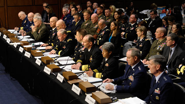 PHOTO: Joint Chiefs Chairman Gen. Martin Dempsey and other top military personnel testify on Capitol Hill in Washington, June 4, 2013, before the Senate Armed Services Committee hearing on pending legislation regarding sexual assaults