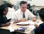 PHOTO: Republican presidential candidate, former Massachusetts Gov. Mitt Romney,  takes part in the 6th grade language arts class during a tour of the Universal Bluford Charter School, May 24, 2012, in Philadelphia.