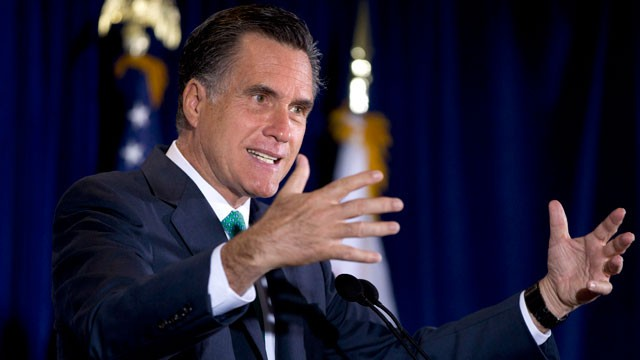 PHOTO: Republican presidential candidate, Mitt Romney gestures while speaking in San Diego, Calif on March 26, 2012.