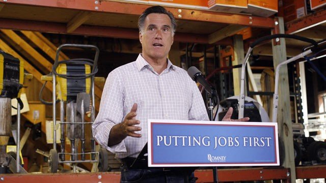 PHOTO: Republican presidential candidate, former Massachusetts Gov. Mitt Romney speaks about job numbers on July 6, 2012, at Bradleys Hardware in Wolfeboro, N.H.