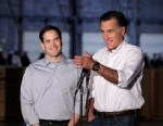 PHOTO: Republican presidential candidate, former Massachusetts Gov. Mitt Romney, accompanied by  by Sen. Marco Rubio, R-Fla., talks to reporters in Aston, Pa., Monday, April 23, 2012.