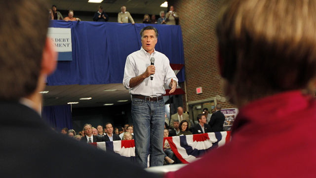 PHOTO: Mitt Romney speaks at a town hall meeting at Capital University in Bexley, Ohio Feb. 29, 2012.