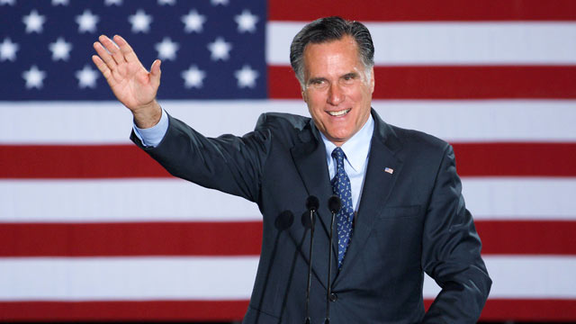 PHOTO: Republican Presidential candidate, former Massachusetts Gov. Mitt Romney declares victory in the Wisconsin presidential primary, April 3, 2012, at the Grain Exchange in Milwaukee.