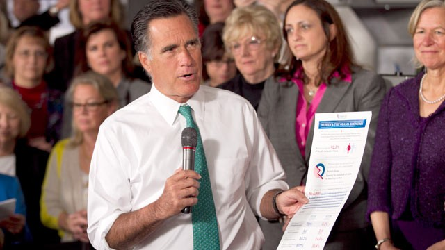 PHOTO: Mitt Romney, holds a flyer on as he speaks in Hartford, Conn., April 11, 2012.