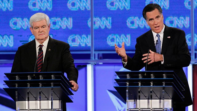 PHOTO: Newt Gingrich and Mitt Romney