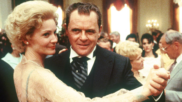 "PHOTO: Anthony Hopkins, playing the title role in Oliver Stone's ""Nixon,"" dances with actress Joan Allen, who plays former first lady Pat Nixon, in a scene from the film."