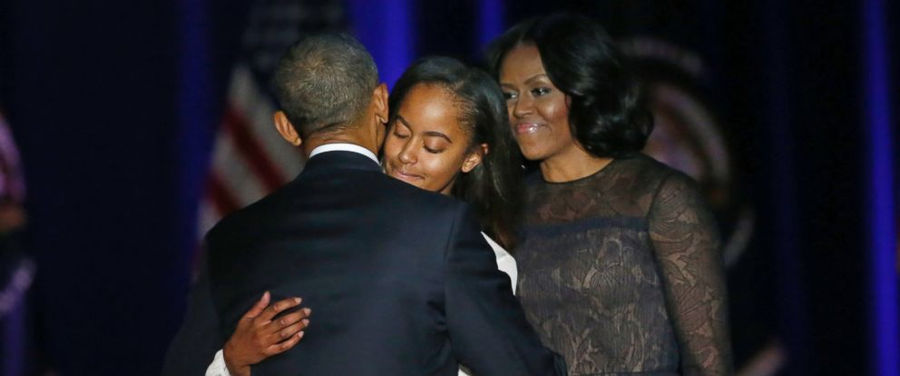 PHOTO: President Barack Obama is joined by his daughter Malia and First Lady Michelle Obama after giving his presidential farewell address at McCormick Place in Chicago, Jan. 10, 2017.