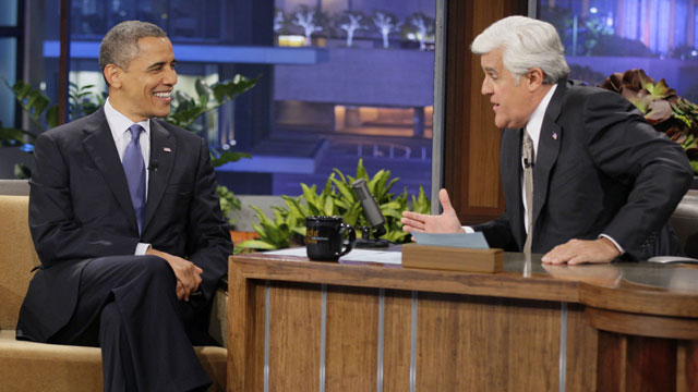 "PHOTO: In this photo provided by NBC, President Barack Obama appears on ""The Tonight Show"" with Jay Leno Wednesday, Oct. 24, 2012, in Los Angeles."