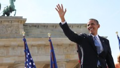 PHOTO: President Barack Obama, stands in front of Brandenburg Gate at Pariser Platz in Berlin, Germany, June 19, 2013.