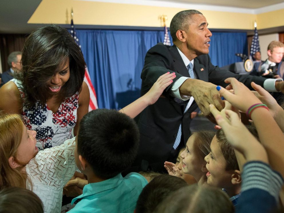 PHOTO: President Barack Obama and first lady Michelle Obama greet children and families of U.S. embassy personnel during an event at the Melia Habana Hotel in Havana, Cuba, Sunday, March 20, 2016.