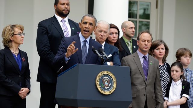 PHOTO: President Barack Obama is joined by Gabby Giffords, left, Vice President Joe Biden, and Newtown family members from left; Jimmy Greene, father of Ana; Nicole Hockley, mother of Dylan; Jeremy Richman, father of Avilee; and Mark and Jackie Barden, wi