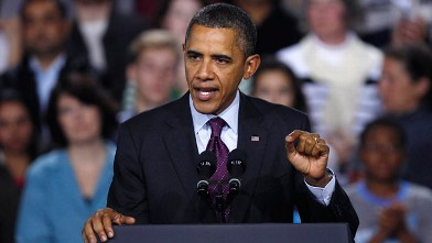 PHOTO: President Barack Obama speaks at Central High School in Manchester, N.H., Nov. 22, 2011.