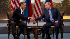 PHOTO: President Barack Obama and Russian President Vladimir Putin shakes hands in Enniskillen, Northern Ireland, June 17, 2013.