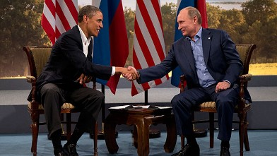 President Barack Obama and Russian President Vladimir Putin shakes hands in Enniskillen, Northern Ireland, June 17, 2013.