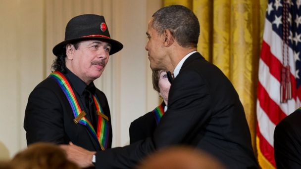 ap obama santana 131208 16x9 608 President Obama Hosts Kennedy Center Honorees, Quips on Santanas Altered State of Mind