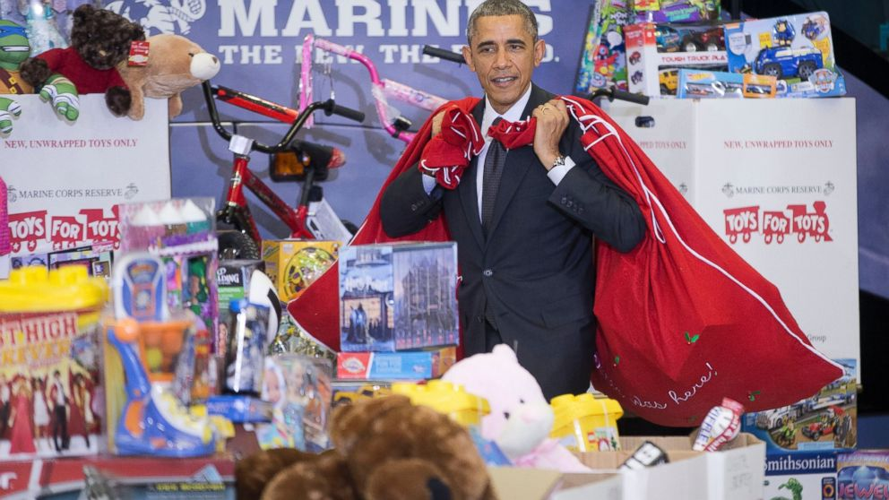 Toys For Tots Washington State : Obama i m the big elf like will ferrell abc news