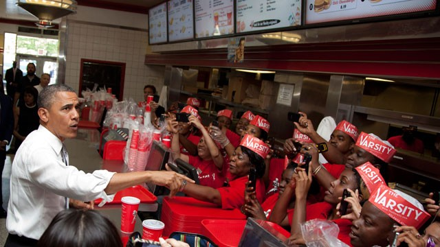 PHOTO: President Barack Obama places an order at The Varsity restaurant, Tuesday, June 26, 2012, in Atlanta.