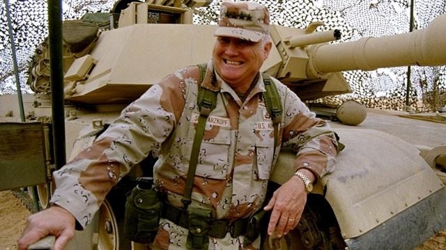 PHOTO: In this Jan. 12, 1991 file photo, Gen. H. Norman Schwarzkopf stands at ease with his tank troops during Operation Desert Storm in Saudi Arabia; Schwarzkopf died on Dec. 27, 2012 in Tampa, Fla. at the age of  78.